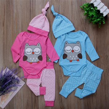 Cute 3pcs Twins Owl Clothes Set for Newborn Baby Girl or Boy 0-18M