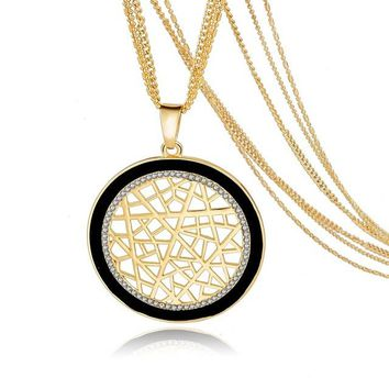 Fashion Round Pendant Crystal Silver Gold Multilayer Necklace Long Chain