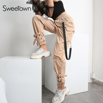 Sweetown Harajuku Punk Rock Cargo Long Pants Women Street Style Pantalon Femme Streetwear Khaki Elastic High Waist Harem Pants