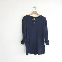 vintage dark navy blue long sleeve long underwear henley top. grunge look shirt / men's size L