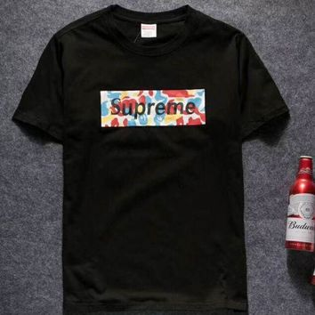 DCCKR2 Supreme 2018 spring and summer new short-sleeved T-shirt graffiti logo F-YQ-ZLHJ