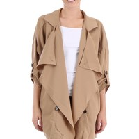 Buttoned Asymmetric Oversize Coat with Pockets