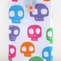 Skull print Kindle case, 7 inch tablet cover sleeve bright skull fabric for nexus 7 kindle touch paperwhite  girly gift for teen uk seller