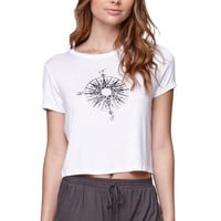 LA Hearts Compass Shunken T-Shirt - Womens Tee - White