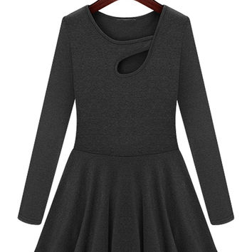 Dark Gray Cut Out Front Long Sleeve Skater Dress