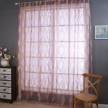 Window Curtain Striped Polyester Voile Fabric Curtain Pleated Home Decor For Living Room Ripple Sheer Screening Drape Panel