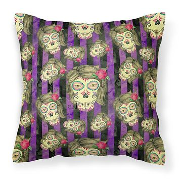 Watecolor Day of the Dead Halloween Fabric Decorative Pillow BB7519PW1818