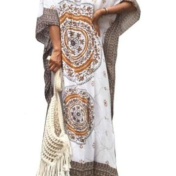 Khaki Bohemian Print Cozy Cotton Kaftan Maxi Dress