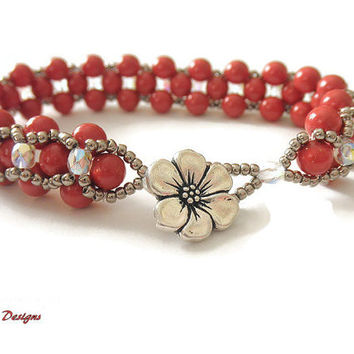 Dressy Beaded Bracelet Pearl Bracelet Red Coral Bracelet Hugs and Kisses Bracelet