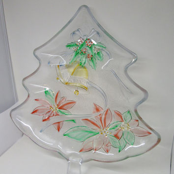 Hand Painted Clear Glass Tree Shaped Plate, Platter, or Tray - Poinsettia and Bell Accents