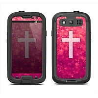 The Vector White Cross v2 over Unfocused Pink Glimmer Samsung Galaxy S3 LifeProof Fre Case Skin Set