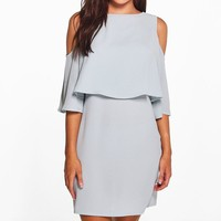 Diane Cold Shoulder Double Layer Dress | Boohoo