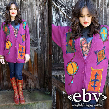 Vintage 80's Beaded Embroidered Oversized Cardigan Hippie Boho Sweater Jumper S M