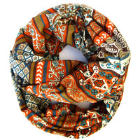 Boho Aztec Infinity Floral Geometric Double Loop Scarf Turquoise Burnt Orange Brown Cream Circle Scarf Fun Women Teens Fashion Scarves