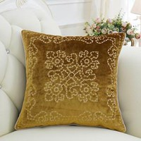 "Yellow Embroidered Floral Pillow 20""X20"""