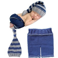 Newborn Boys Girls Baby Crochet Knit Costume Photography Photo Props Hat Outfit 0-12 Months [8321372167]