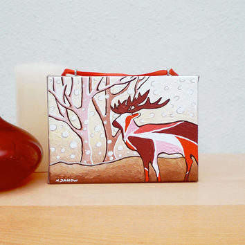 CIJ 15% OFF - Deer Art Acrylic Painting Christmas Ornament, Wall Hanging Animal Art, Deer Painting Winter Decor, Red 5x7