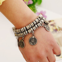 Boho Gypsy Statement Beachy Ethnic Tribal Festival Turkish Jewelry New Bohemian Metal Coin Bracelet