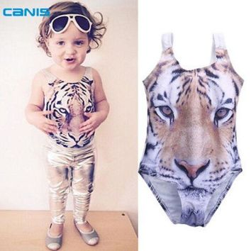 Baby Girls 3d Swimsuit Tiger Design One Piece Girls Swimwear 1 6yrs Infant Toddler Girls Swimming Suit Beach Swimwear Bathsuit