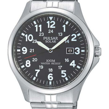 Pulsar Mens Traditional Solar Watch - Black Dial - Stainless Expansion Band