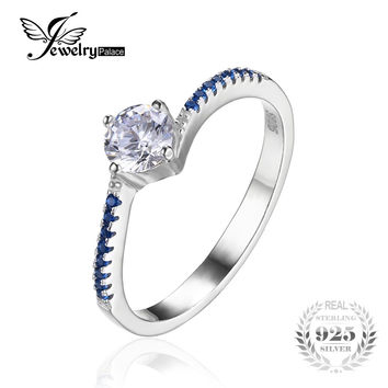 JewelryPalace Round 0.7ct Created Blue Nano Sapphire Anniversary Promise Engagement Ring 925 Sterling Silver Ring