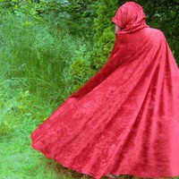Red Riding hood Long crushed Velvet Cape Cosplay Costume fairy Tale | PoppysWickedGarden - Clothing on ArtFire