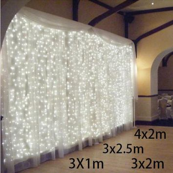 3x1/3x2/4x2m led icicle led curtain fairy string light