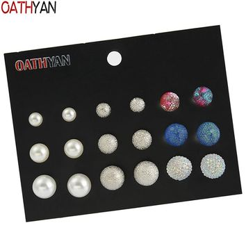 OATHYAN 9 Pairs/Set Classic Simulated Pearl Stud Earrings Sets Female Metal Ball Acrylic Bead Earring For Women Fashion Jewelry