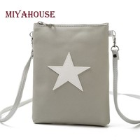 Miyahouse Casual Star Design Mini Shoulder Bag Phone Bag Female Double Zipper Soft Leather Women Crossbody Messenger Bag