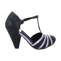 Black Silver Trim T Strap Dress Pumps-Vintage Inspired Shoes