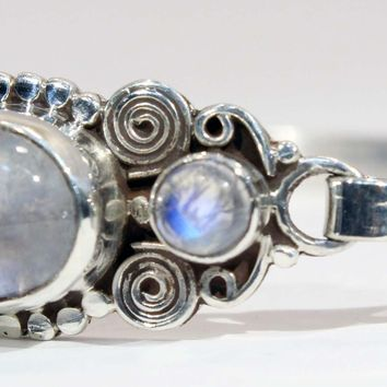 Sterling Silver Rainbow Moonstone Spiral Cuff Bracelet