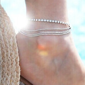 Fashion Bead Claw Chain Copper Multilayer Anklets (Size: 1, Color: Silver) = 1838785156