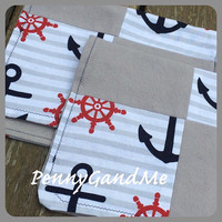 Personalized Anchor Burp Cloths, Nautical Burp Cloths, Patchwork Set of 2 or 3