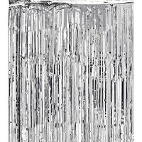 SUNBEAUTY 1 Set of Metallic Tinsel Foil Fringe Curtains for Party Photo Backdrop Wedding Decor (Silver-1)