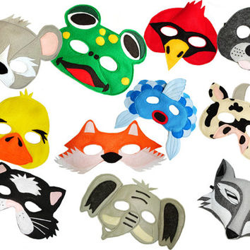 What Does The Fox Say, Set of 11 Children's Animal Felt Masks Combo