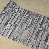 3d Effect Brick Stone Wallpaper Environmental Vinyl Rustic Nature Stacked Pattern by PVC for Living Room Bedroom Furniture DIY Home 4 Colors 10m*0.53m