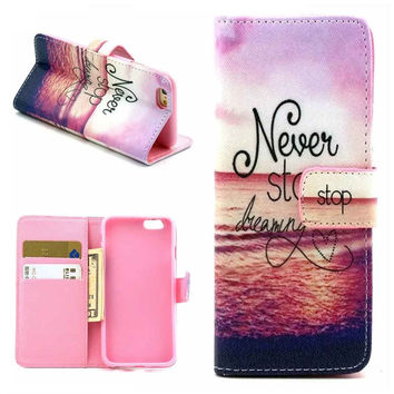 Motivational Print Leather Case Cover Wallet for iPhone 6 / iPhone plus