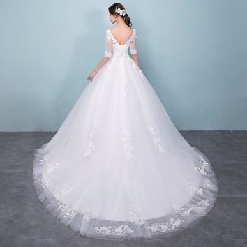 Newest Tulle V Neck Half Sleeves Long Wedding Dresses White Appliques Lace Up A Line Wedding Gowns