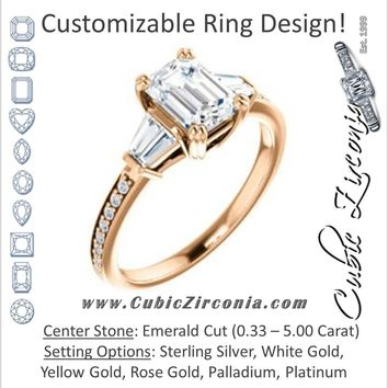 Cubic Zirconia Engagement Ring- The Hazel Rae (Customizable Emerald Cut Design with Quad Baguette Accents and Pavé Band)