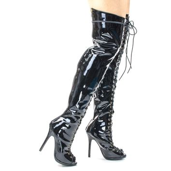 Opus1C Black By Liliana, Corset Military Lace Up OTK Over Knee Thigh High Boots w Heel & Peep Toe