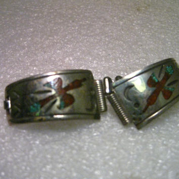 "Vintage Native/American Southwestern Sterling Silver  Inlaid Turquoise & Coral Peyote Bird,  Moon/Sun stamped designs,  1/3"" Lug"