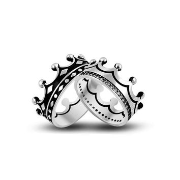 King and queen silver wedding rings