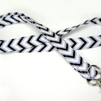 Fabric Lanyard - ID Badge and Key Ring - Black White and Grey Chevron ZigZags Celebration - Optional Breakaway Clasp
