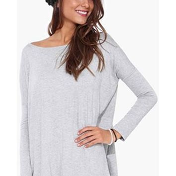 Basic Bamboo Piko 1988 Heather Grey Long Sleeve Soft Tee Shirt Top Loose Slouch Boat Neck