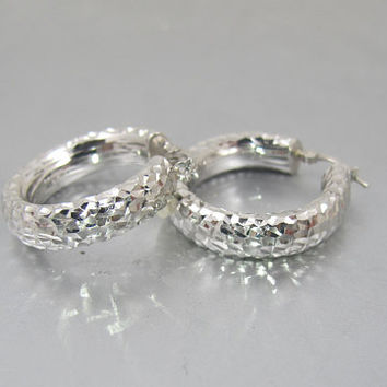 Gold Hoop Earrings.  14K White Gold Hammered Round Sparkle Hoops.  White Gold Pierced Earrings.