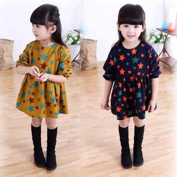 Fashion Baby Dress Long Sleeve Lolita Style Girls Clothes Spring Children Dresses For Girl Stars Printed Clothing girls clothes