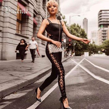 Chic Satin Side Hollow Cross Criss Lace Up Backless Skinny Full Length Party Jumpsuit