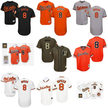Cheap White orange Throwback Cal Ripken Jersey , Men's #8 Mitchell And Ness MLB Baltimore Orioles stitched