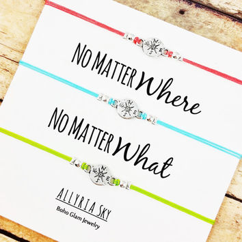 "Triple Set of Compass Friendship Bracelets with ""No Matter Where No Matter What"" Card 
