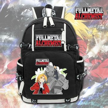 Anime Backpack School kawaii cute Fullmetal Alchemist Backpack canvas student schoolbag Rucksack packsack laptop bag swagger bag cosplay zipper shoulder bag AT_60_4